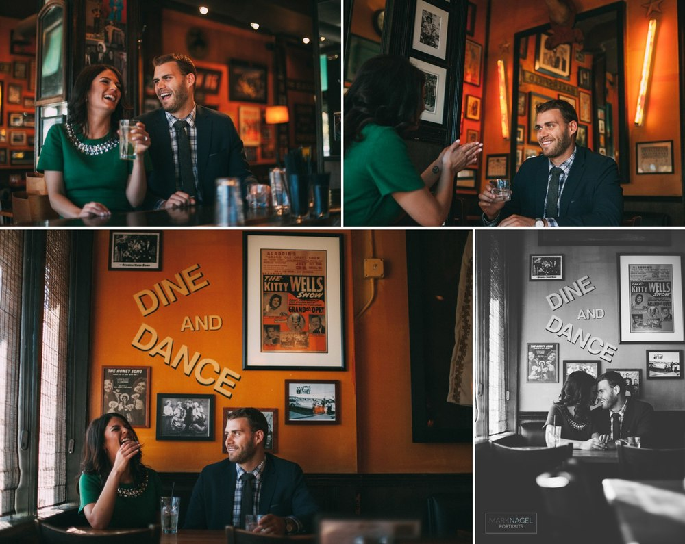 engagement photo session in a bar kansas city river market