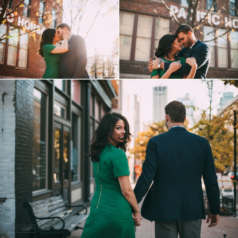 engagement photography - couple in urban river market kansas city