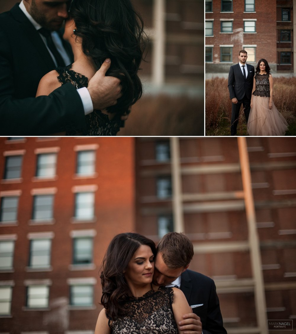 dressed up engagement photo session in urban downtown