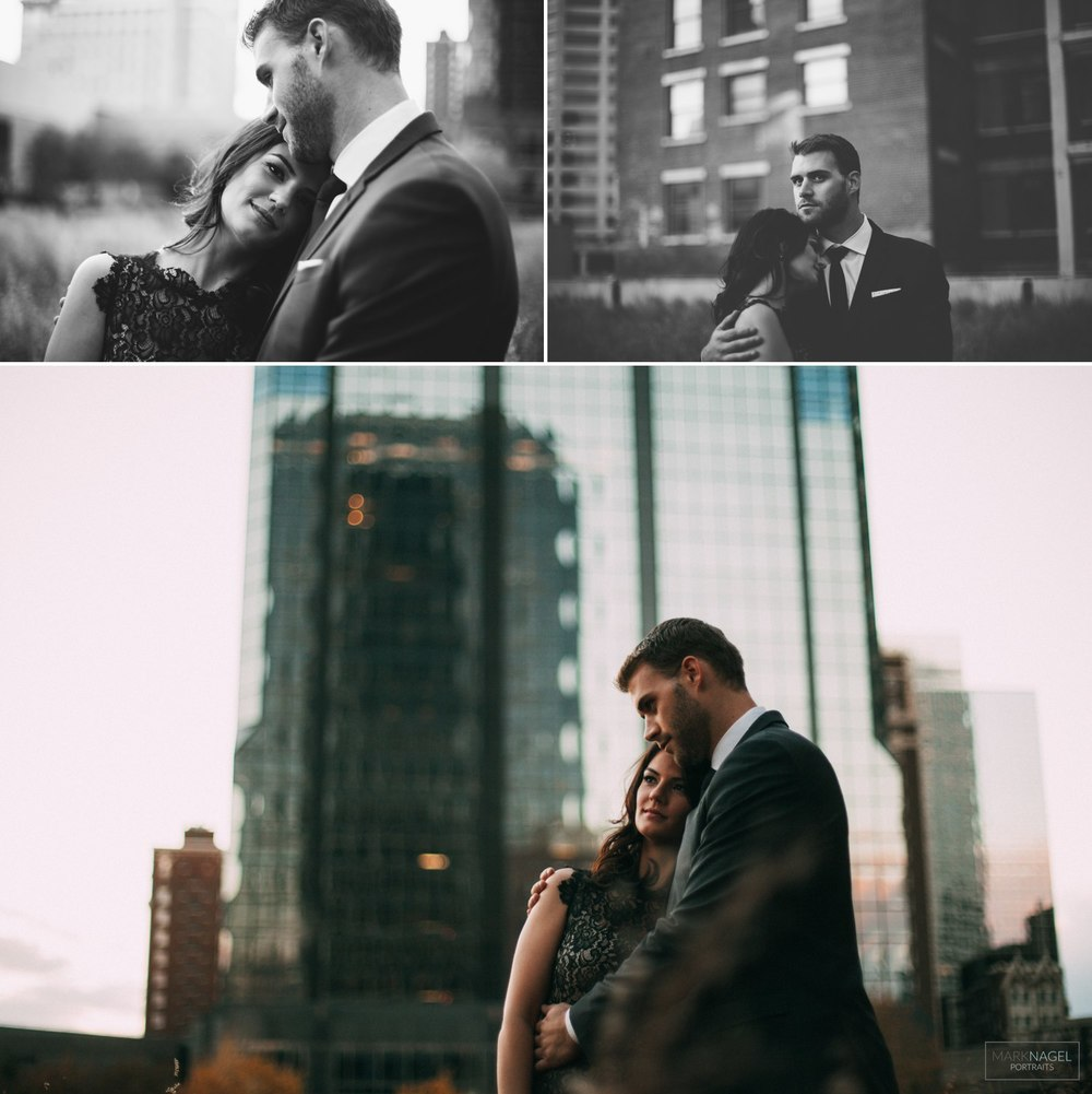 classy dress - urban engagement photos