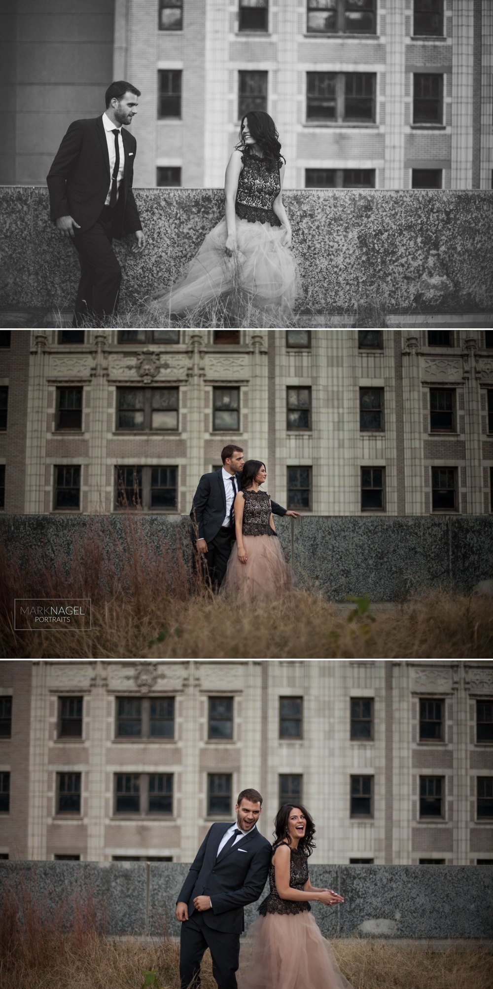 dressed up on the rooftop - engaged couple photo session in kansas city
