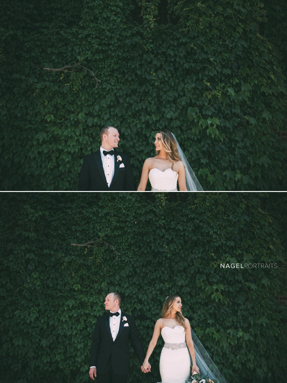 bride and groom in front of ivy covered wall in kansas city on wedding day