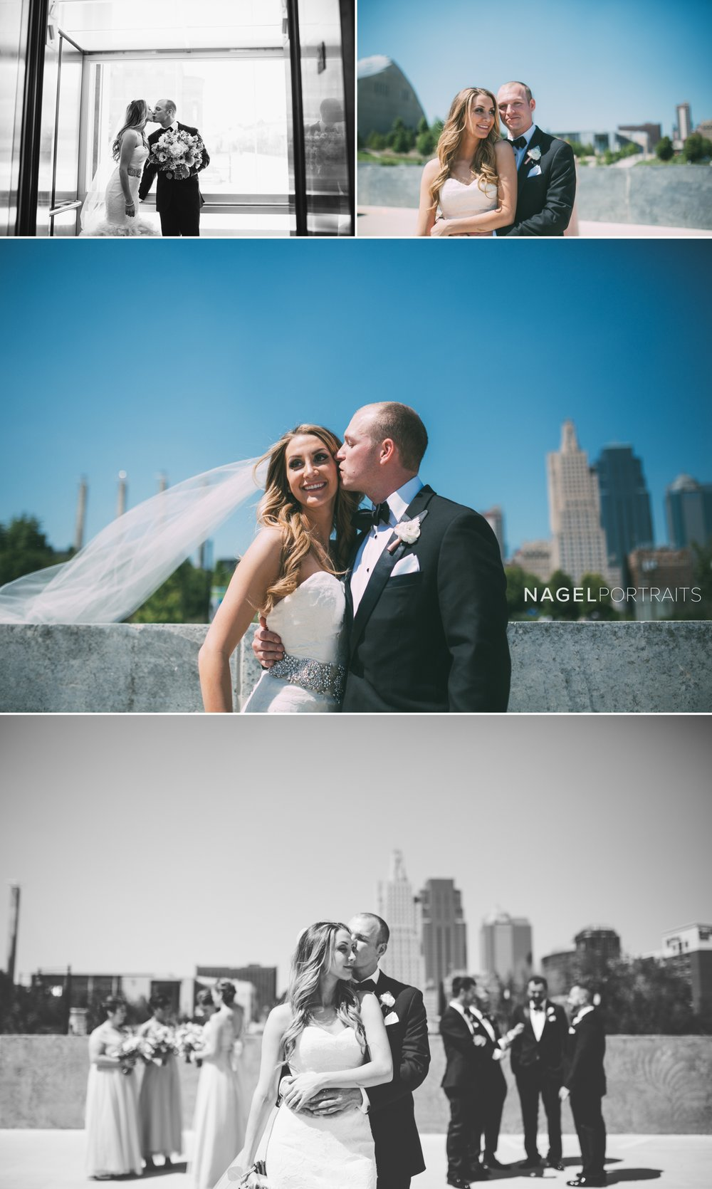bride and groom on rooftop with view of kansas city