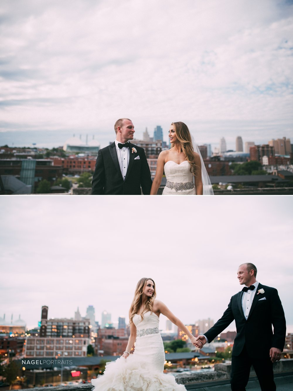 portrait of bride and groom on kansas city rooftop with view of downtown