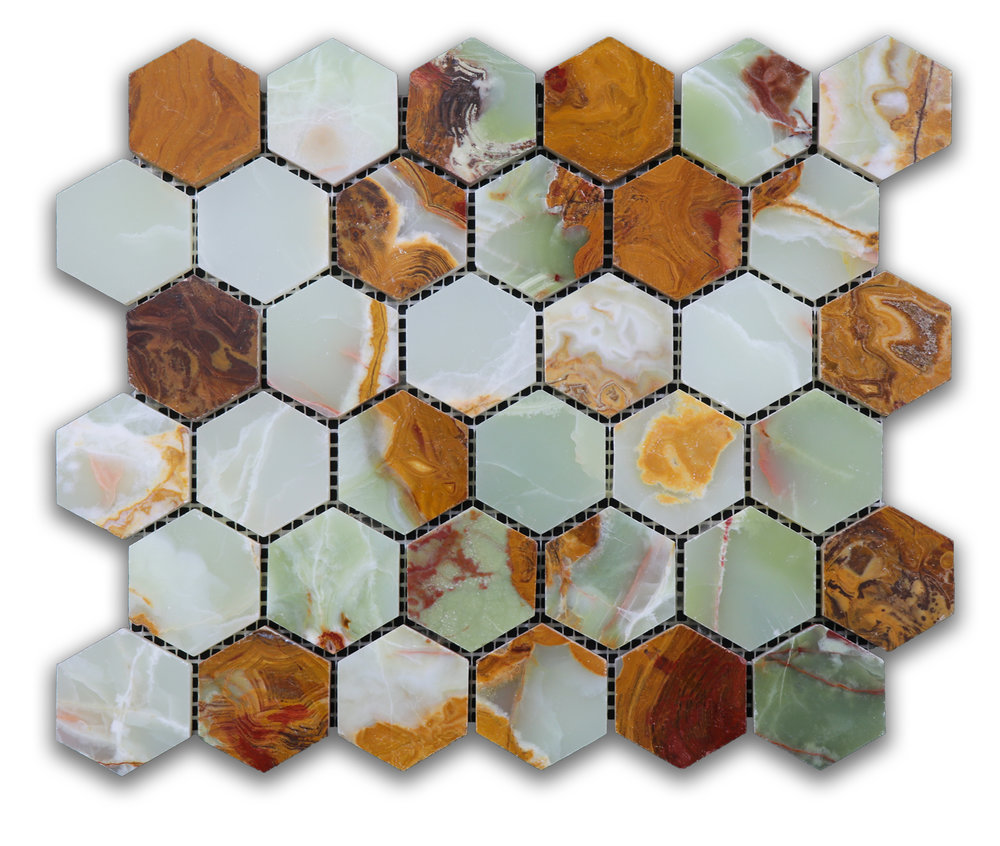 Jade Green Onyx Hexagon