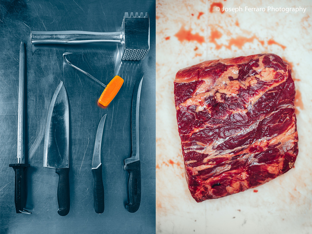 Butcher's tools and Beef.