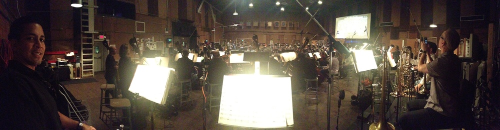 Panorama shot (by Daniel Rosenboom) from the   Godzilla   sessions at the Barbara Streisand Scoring Stage at Sony Pictures Studios.