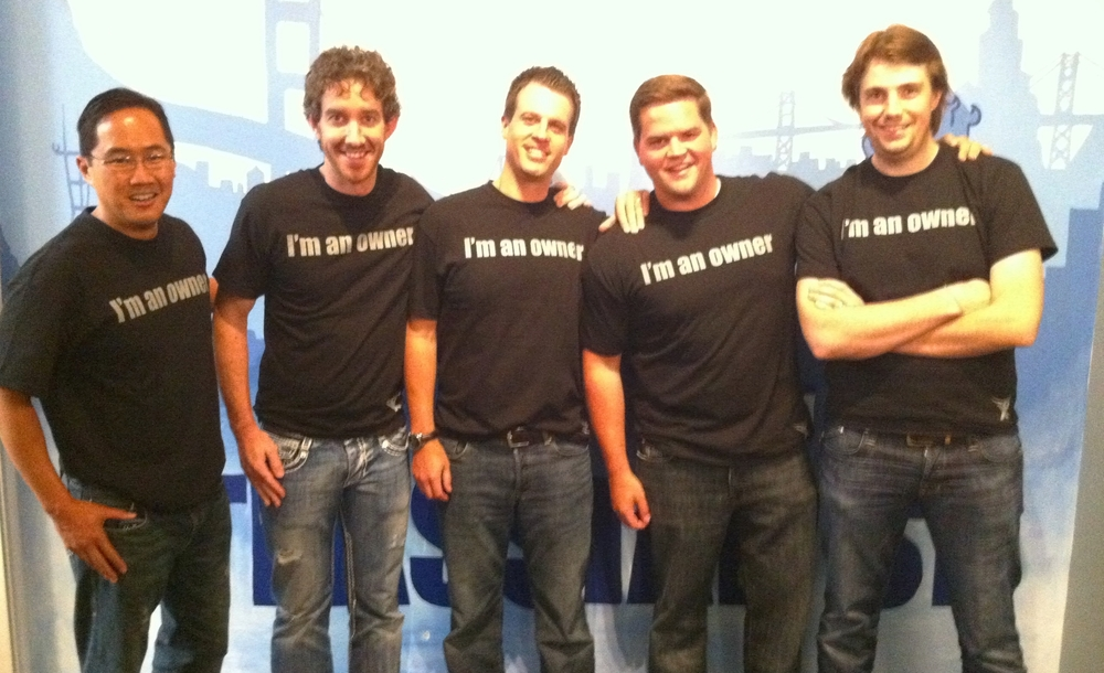 Rich Wong (Accel), Scott Farquhar, Ryan Sweeney (Accel), Miles Clements (Accel) & Mike Cannon-Brookes following Accel's first investment in 2010