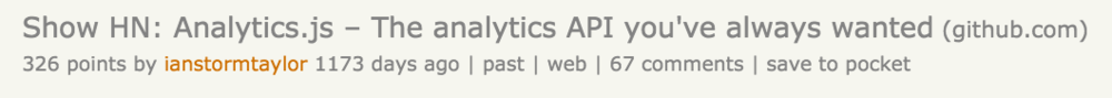 Segment's Hacker News post about analytics.js