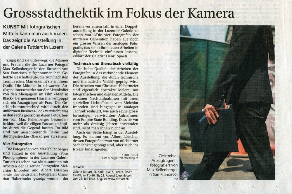 Woman with Blue Pen,  Review in Luzerner Zeitung, July 17, 2015.