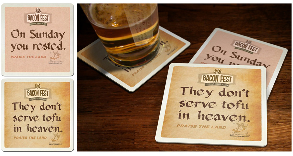 These coasters smell like bacon when wet.   Wet the coaster. Wet your appetite.
