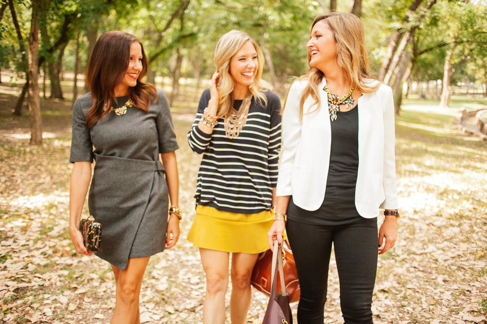 "Anna of Fleurdille: ""The Maple"" // Liz of Accessory Jane: ""The Chicago Bib"" // Andi of Our Beau Monde: ""The Melanie"""