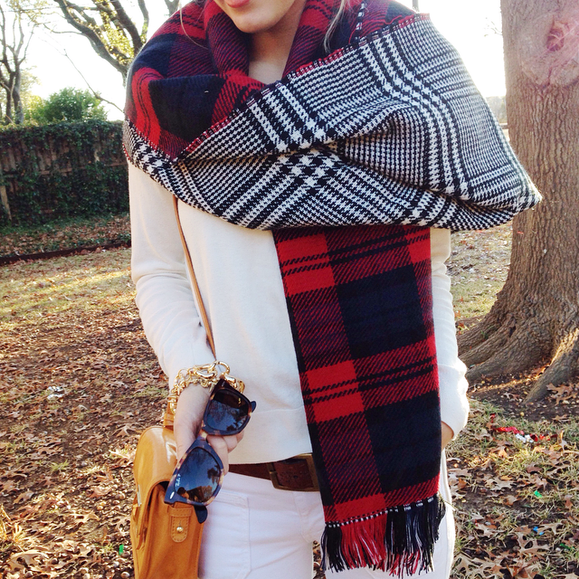 Accessory Jane wearing the Reversible Plaid Scarf
