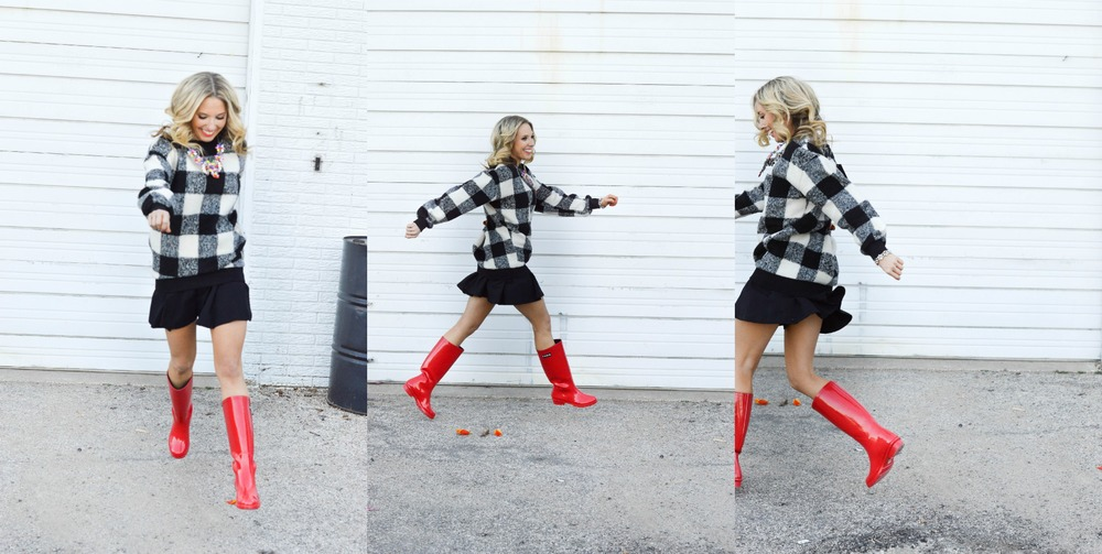 Checkered Sweater // Rain Boots // Statement Necklace