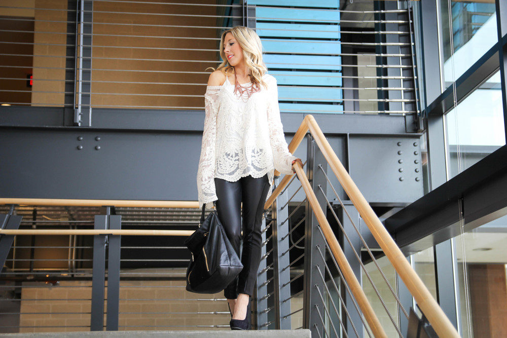 Leather Leggings / Lace Top / Statement Jewelry / Dallas Fashion & Lifestyle Blog