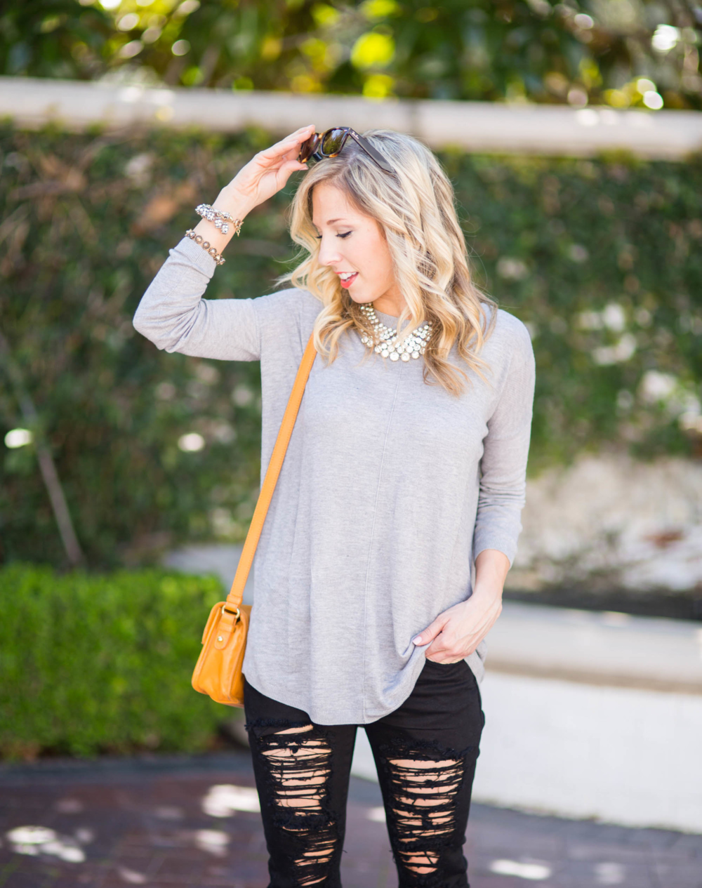 Black Distressed Jeans / Topshop / Accessory Jane Statement Necklace / Dallas Fashion Blogger