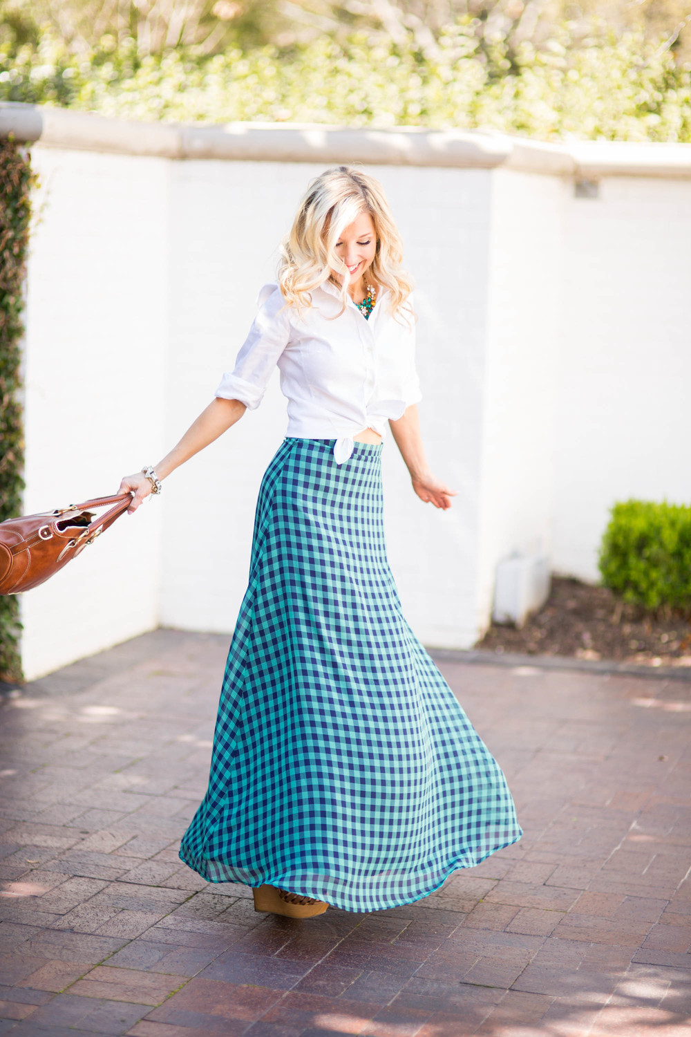 Shabby Apple / Gingham / Maxi Skirt / Accessory Jane / Dallas Fashion Blogger