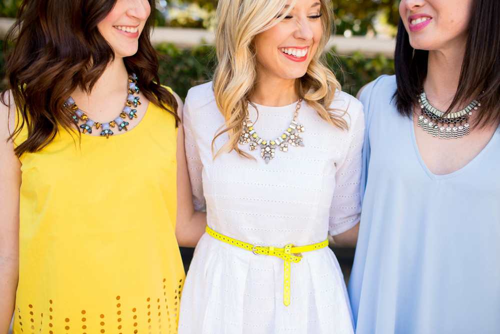 From right to left: The Suri Lynn Necklace, The Gigi Necklace, The Paisley Paige Necklace