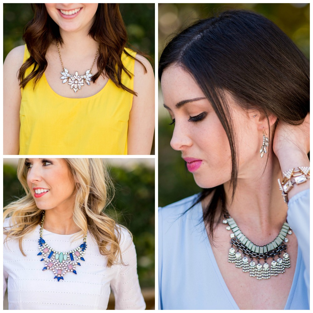 From left to right, top to bottom:  The Livvy Necklace ,  The Paisley Paige Necklace ,  The Serenity Earrings ,  The Sahara Bracelet ,  The Riley Rectangle Bracelet ,  The Skylar Necklace