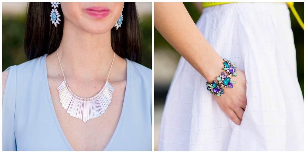 From left to right:The Santa Clara Necklace, The Rosalie May Statement Bracelet