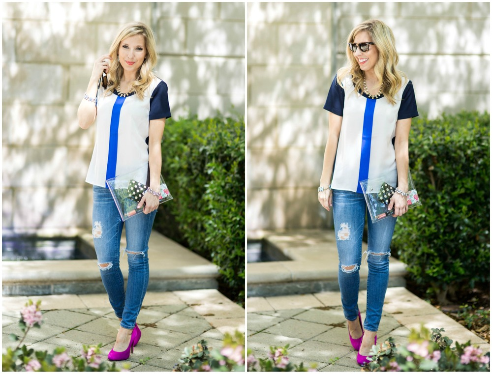 J.Crew Blue Top + Blue Jeans / Accessory Jane / Dallas Fashion Blogger / Distressed Jeans