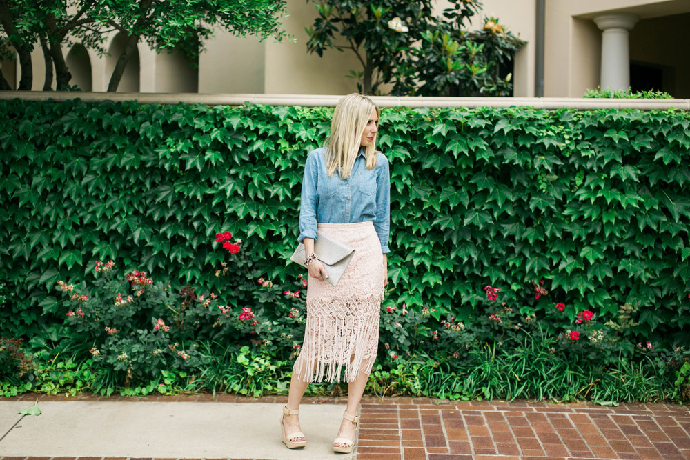 Lace Skirt + Chambray Outfit