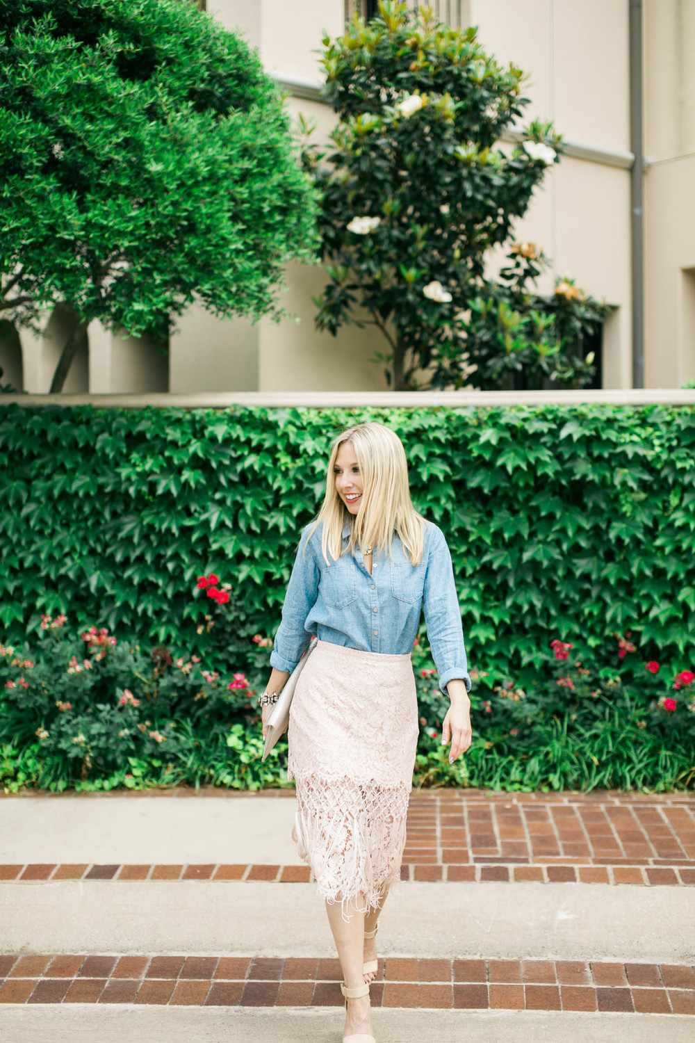 Lace Skirt + Chambray Outfit 3
