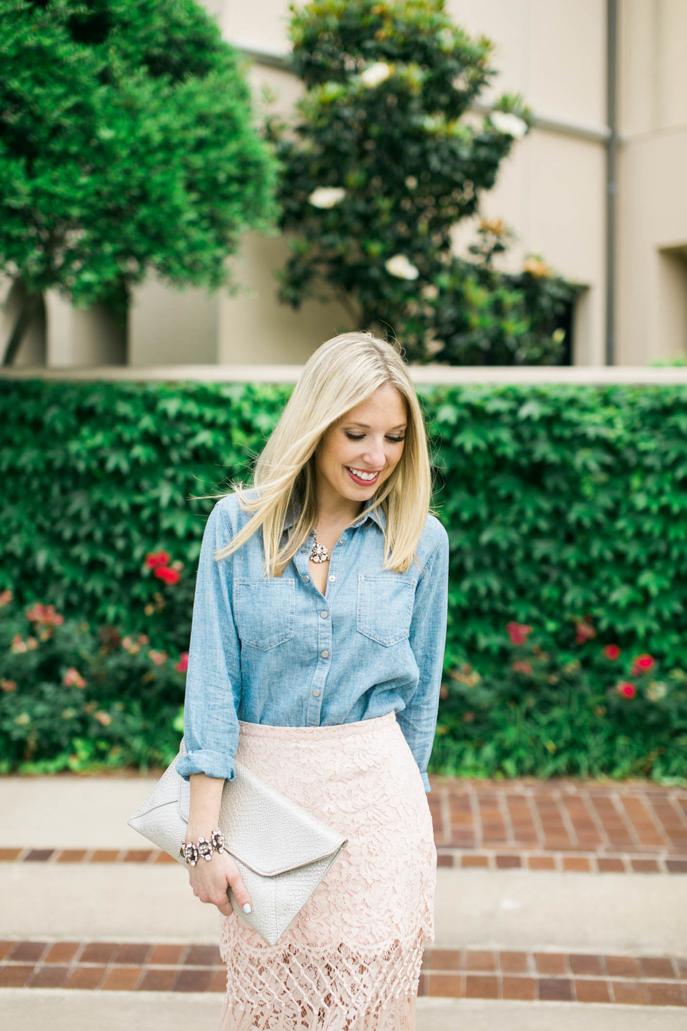 Lace Skirt + Chambray Outfit 4