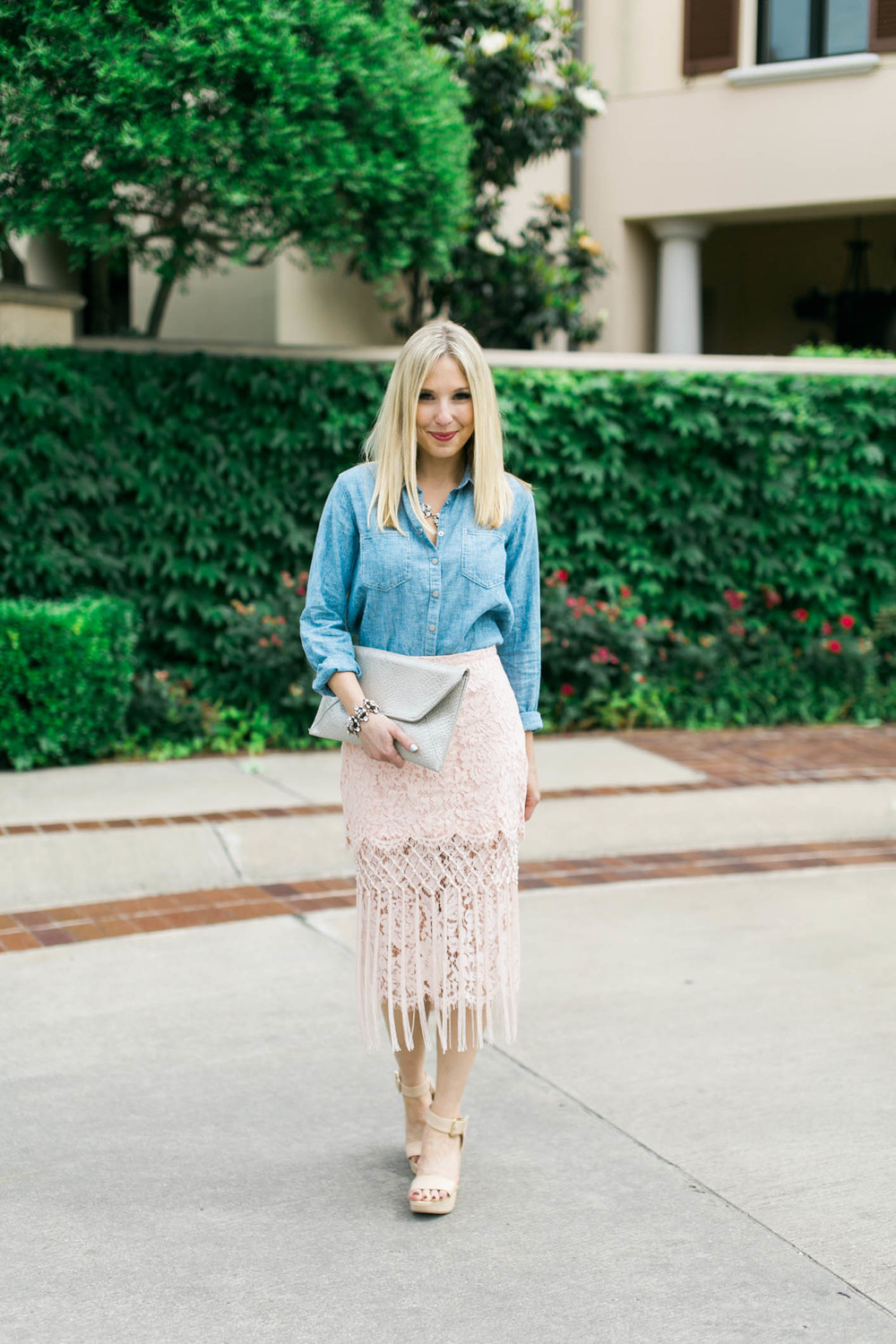 Lace Skirt + Chambray Outfit 6