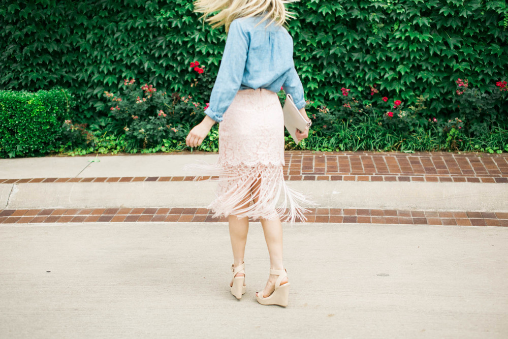 Lace Skirt + Chambray Outfit 8