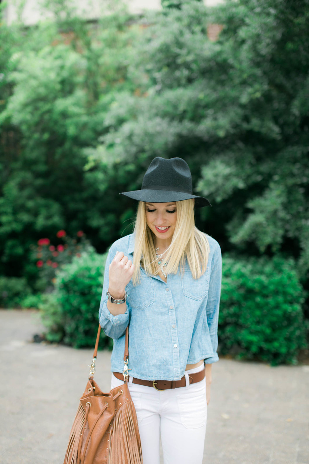 Chambray Shirt + White Jeans