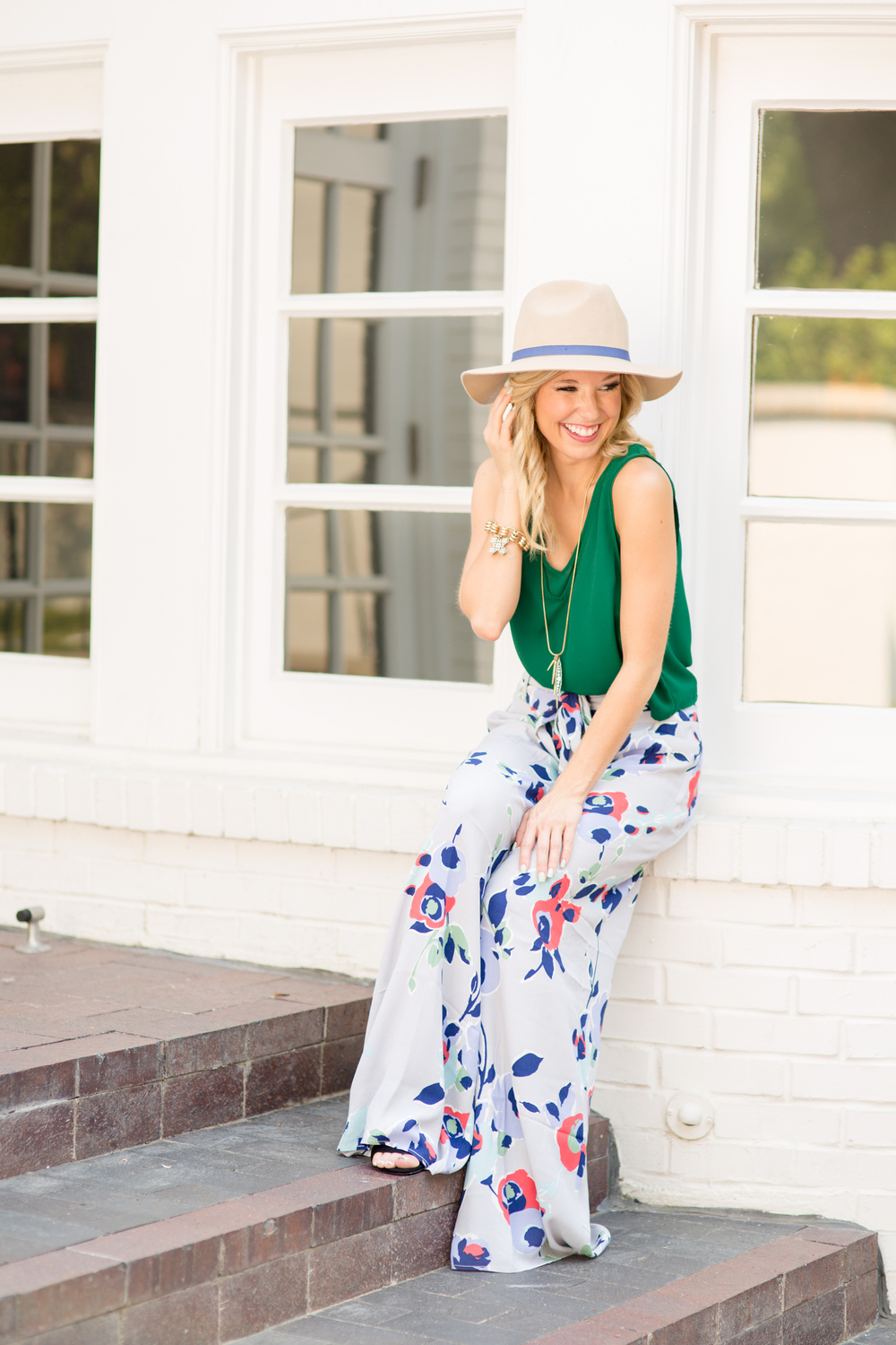 Anthropologie Floral Pants + Holly Green 3