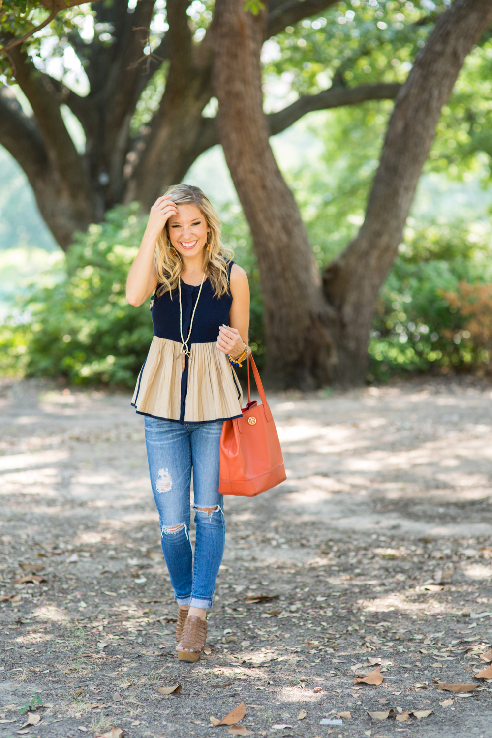 Antropologie Ripped Skinny Jeans & Tassel Necklace