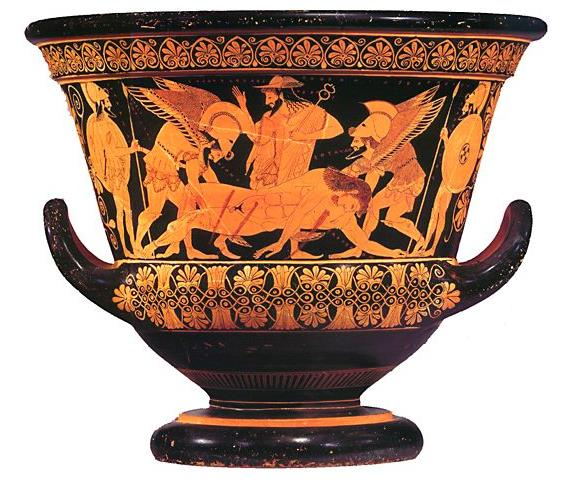 Euphronios krater,    which was fashioned by Euxitheos and painted by Euphronios in 515 B.C .  The floral design on the top of this piece inspired Lakonía's packing design .