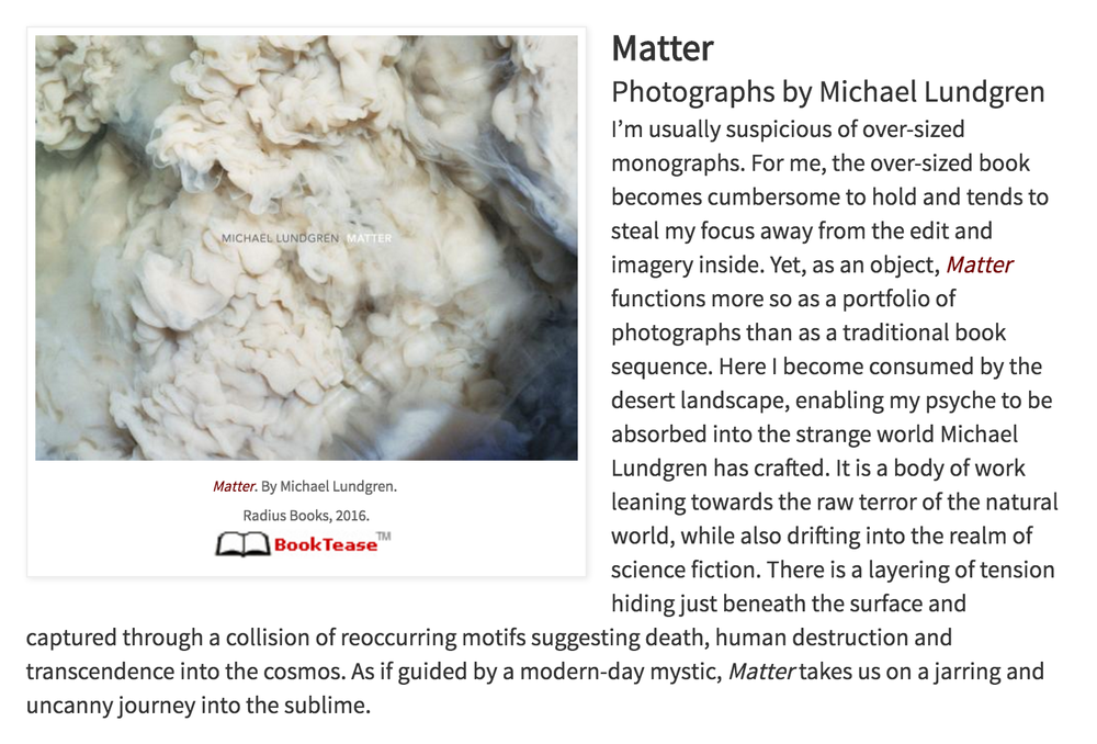 Matter listed as one of PhotoEye Bookstore's  Best Books  of 2016 by Antone Dolezal