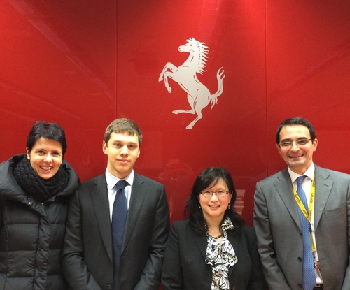 Maria P., Mike Stern, Maria Yang, and Mirko Boccalatte at Ferrari Headquarters, Jan. 2014
