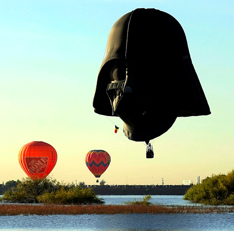 szymon :     Darth Vader  hot-air balloon  in Leon, Mexico     What sweet, sweet nightmares are made of.