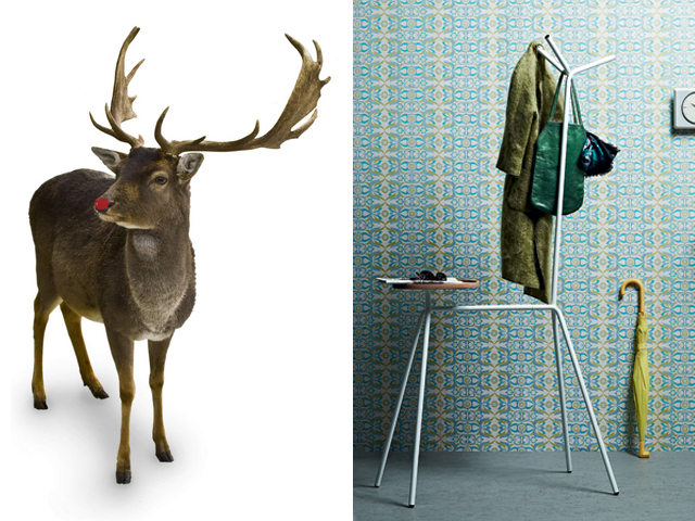The playful yet functional form of the Ruben Coatrack from Casamania is reminiscent of another helpful sort of [flying] deer.