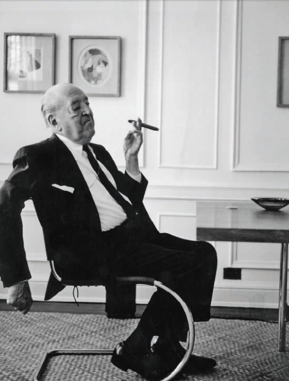 Ludwig Mies van der Rohe in his S 533 chair, introducing a cantilever furniture design