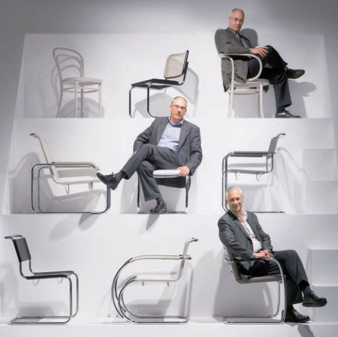 Claus, Philpp, and Peter Thonet are part of the 5th generation of Thonet's to run the company