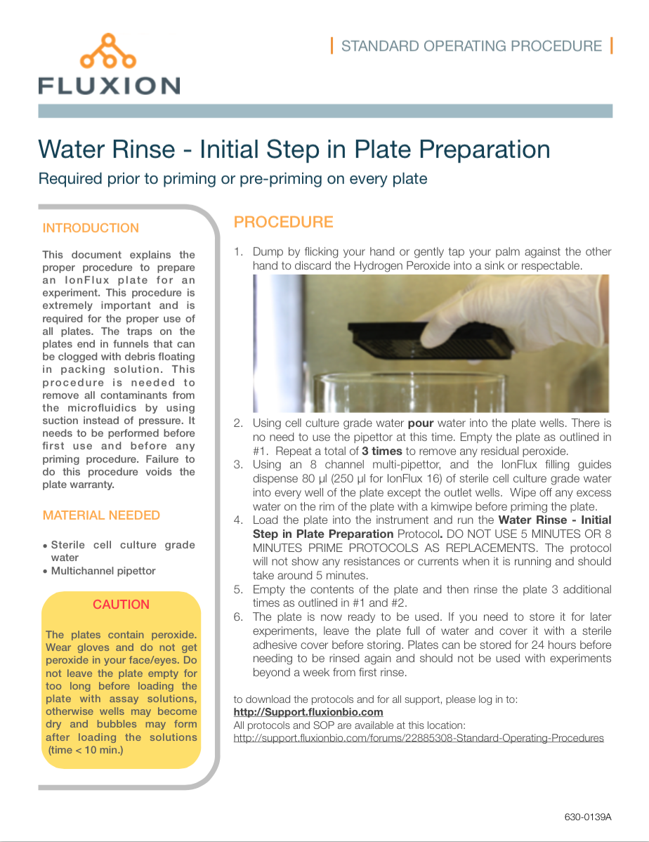 This SOP explains the procedure for rinsing the plates from packing solutions and getting it ready for experiments. This procedure is important and needs to be performed as soon as the plates are unpacked.