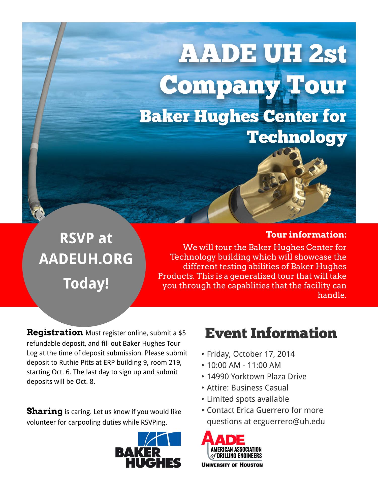 2nd Facility Tour - Baker Hughes Tour, RSVP Oct  6-8 — AADE