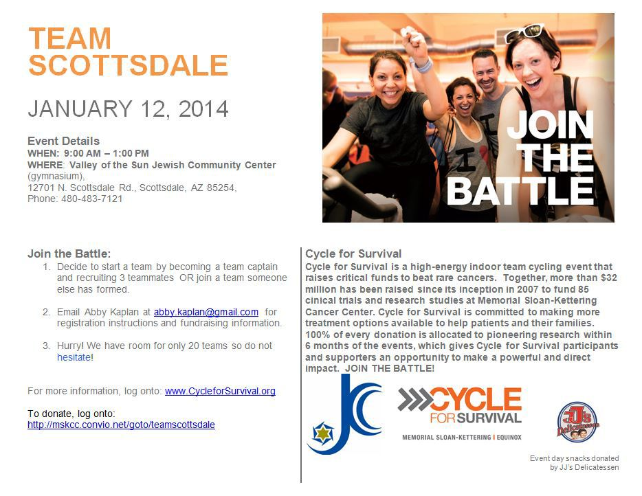 Email Abby Kaplan for more info abby.kaplan@gmail.com For more info cycle for survival click HERE