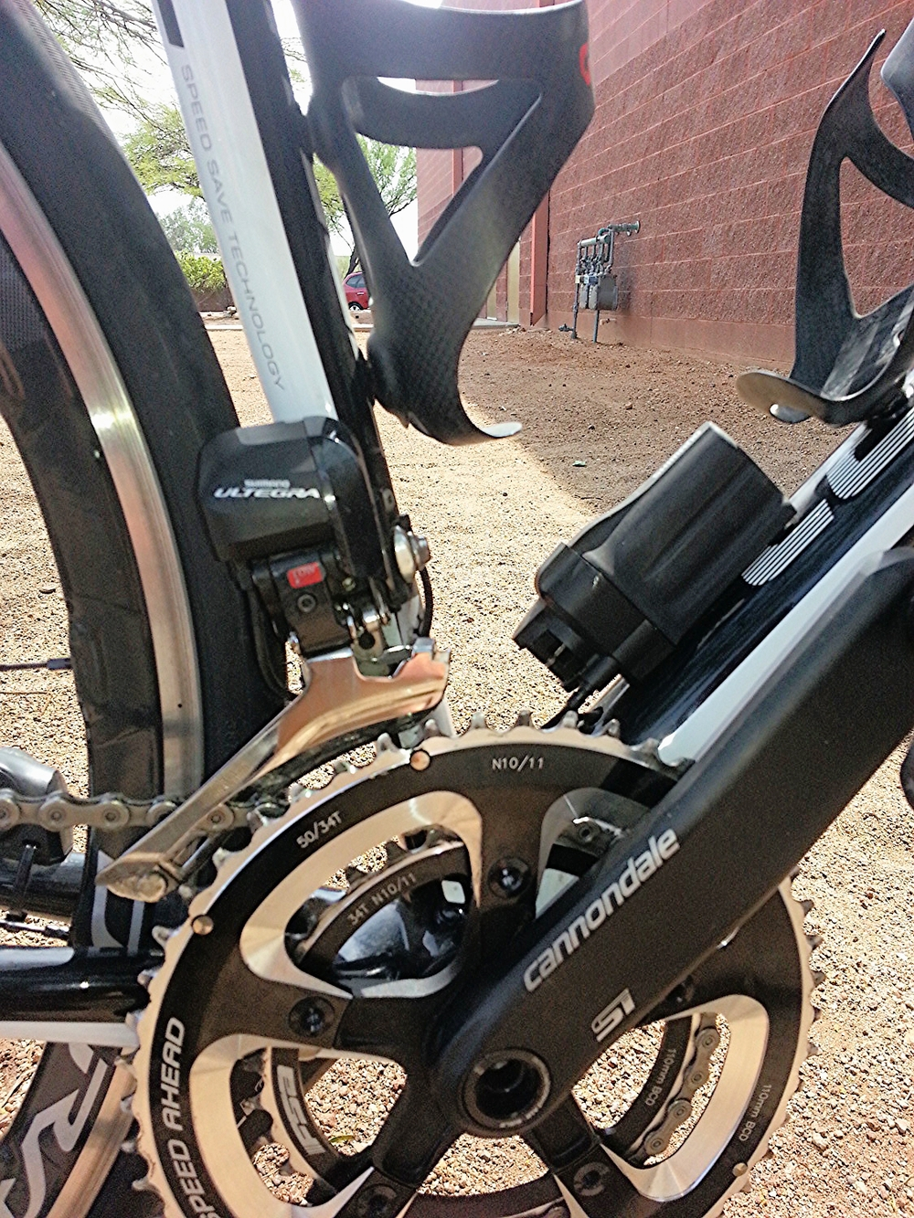 View of the battery location and front electronic derailleur.
