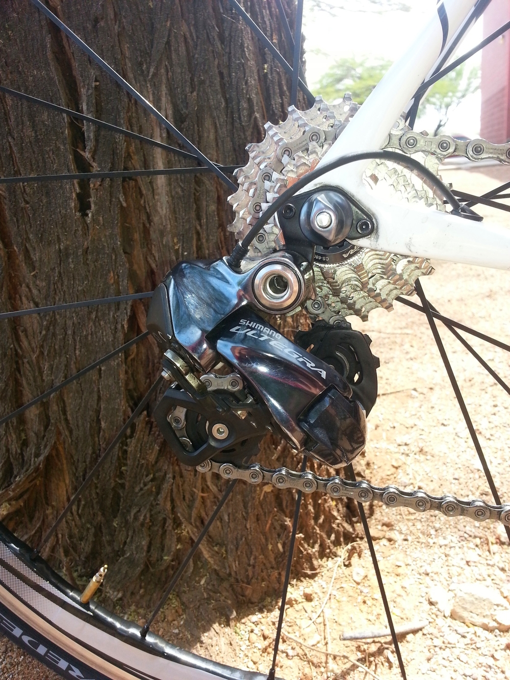 Clean looking rear derailleur smoothly shifts the gears without skipping a beat.