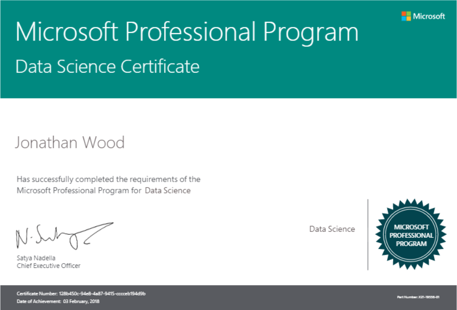 completing the microsoft professional program for data science jon