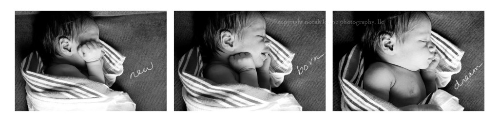 Three photographs of newborn baby sleeping black and white Santa Fe New Mexico