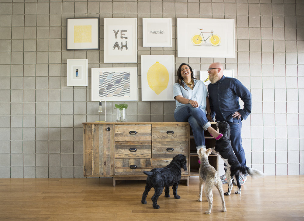 In addition to swooning over the aesthetics of this couple's space, I love this moment. For me, it's a joyful slice of their family's dynamic. They obviously have fun together and their pets are their beloved family members. This photo makes me happy.