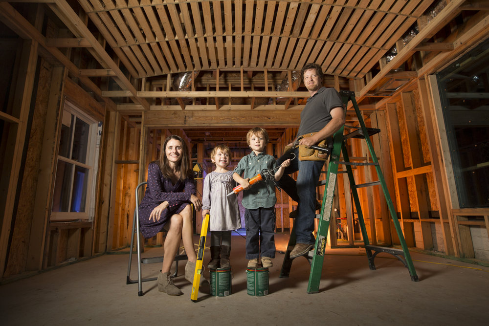 "This family was very focused on a construction project on their house when I created this family portrait for them. Mom wanted to create something special that included their construction filled life at the time and this was a fun solution. We really enjoyed ourselves and the kids had a blast as they were given special ""jobs"" for the portrait. I highly valued having this creative opportunity that was also personal to the family."