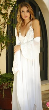 Normal    0                false    false    false       EN-US    X-NONE    X-NONE                                                                              Jonquil     Daphne Kimono   Rope    Soft and romantic, the ethereal Daphne chiffon bridal robe features kimono sleeve complete with satin cuffs and embellished with corded lace and pearls. Pretty wrap style with removable satin belt.  Sizes: S/M/L